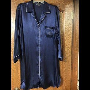 Halston Navy Blue night shirt with crest